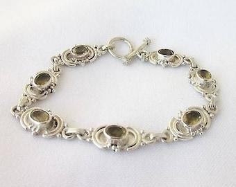 Antique style silver bracelet and 20 cm smoky quartz