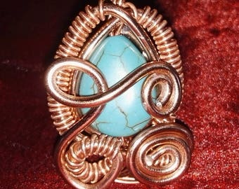 Beautiful aluminum wire ring in copper with turquoise stone