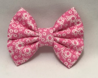 Pink & White Floral - Fabric Barrette Bow