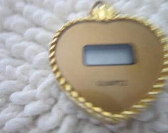 Vintage Necklace Pendant Watch Quartz Heart Shaped Digital
