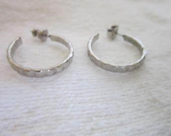 Vintage Silver Tone Retro Hoop Earrings