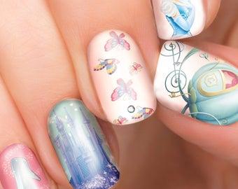 Cinderella Disney nail transfers - illustrated nail art decals - Cinderella, Princess - Disney nail sticker