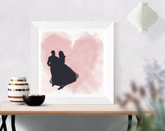 Customised couple silhouette digital download/printable