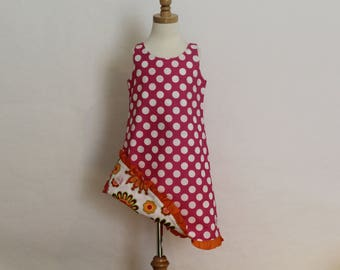 Hot Pink Polka Dot and Floral Reversible Sundress