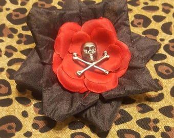 Rockabilly Skull Hair Flower
