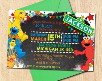 Sesame Street Birthday Invitation/Sesame Street Birthday/Sesame Street Invitation/Sesame Street Invitation Digital/Sesame Street/Elmo