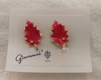 Vintage Signed Giovanni Clip On Red Enamel Leaf Earrings Original Card and Package