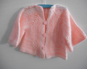 Baby Cardigan Crochet Pink White