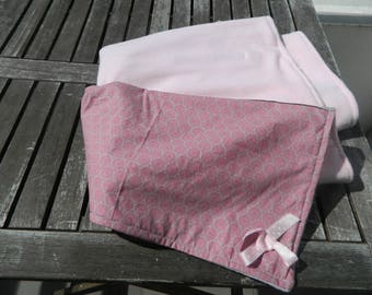 fabric lined with a fleece baby blanket pink