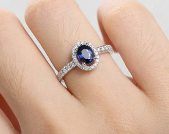 Sapphire Engagement Ring Oval White Gold Wedding Ring Halo Diamond Eternity August birthstone Bridal set Anniversary Promise antique