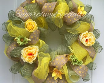 Rustic Chic, Yellow and Moss Green Wreath