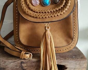 Tan suede boho bag,hippie tassel bag