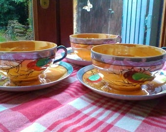 Tea for 3 - beautiful vintage lustreware bird cups and saucers