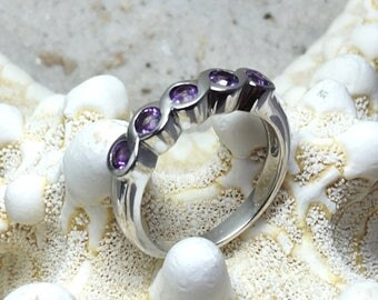 Sterling Silver Ring with 5 Amethyst  gemstones / gemstone ring / natural untreated stone