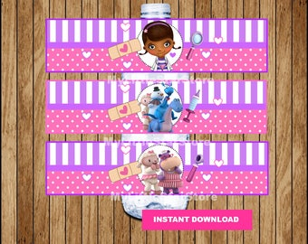 Doc McStuffins bottle labels, Printable Doc McStuffins water bottle labels, Doc McStuffins party water labels Instant download