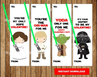 Star Wars Valentine Cards , Valentine's Day Star Wars Glow Stick Light Saber cards Instant download