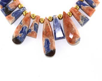 Natural Sodalite Flat Faceted Pear And Triangle Shape Beads Sodalite Stone Natural Stone Sodalite Necklace Blue Sodalite Beads Blue Color