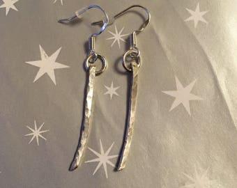 Handmade hammered sterling silver dangle earrings