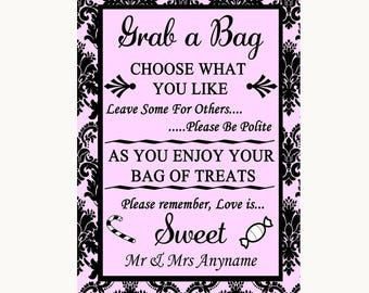 Baby Pink Damask Grab A Bag Candy Buffet Cart Sweets Personalised Wedding Sign
