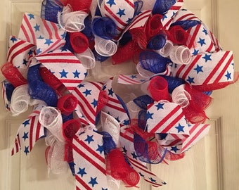 Red White and Blue Mesh Wreath