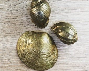 Brass Seashells, set of three // Vintage brass paper weights // Midcentury brass seashells
