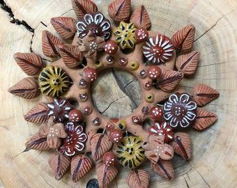 Vintage Clay Wreath // Fall Decor // Handmade Folk Art Wreath //Tree of Life Wreath