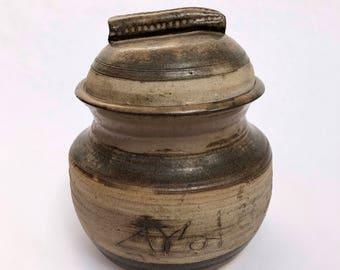 Ceramic Lidded Jar // Vintage Signed Pottery // VTG handmade jar with lid // Free domestic shipping