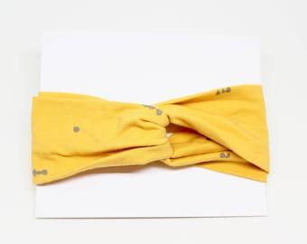 SALE Mustard with Grey Dots Twist Headband