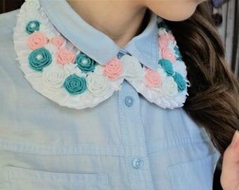 Girl Women Collar Necklace Handmade Gift Idea Romantic Style Unique Jewelry Felt Roses
