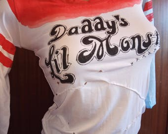 Daddys lil monster harley quinn shirt t shirt harley quinn cosplay harley quinn costume for kids harley quinn suicide squad painting puddin