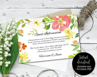 Wedding Guest Information Template, Editable Wedding Guest Information, Text Editable Template Printable, Watercolor Flower Border 7 INFO-7