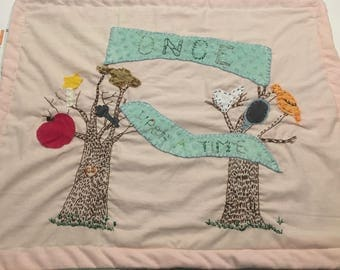Embroidered Handmade Fairytale Baby Blanket with Minky Back
