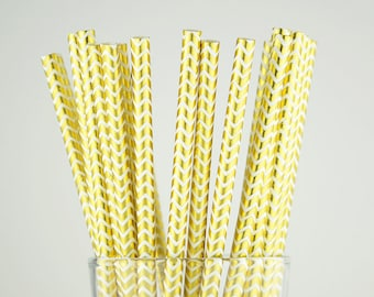 Gold Foil Chevron Paper Straws - Mason Jar Straws - Party Decor Supply - Cake Pop Sticks - Party Favor