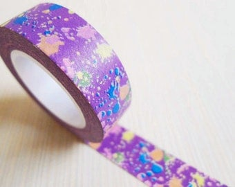Purple Graffiti Pattern Washi Tape 1 Roll - 15mm x 10m - Gift Wrapping - Decorative Tape - Scrapbooking Sticker