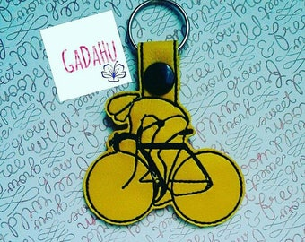 Spin Key Fob Snap Tab Embroidery Design 4X4 size. Spinning/Bike/Cycling/Sports/Gym/Ride/Biking