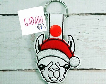 Llama Christmas Filled and Applique Key Fob Snap Tab Embroidery Design 4X4 size Snap tab. Winter/Animal