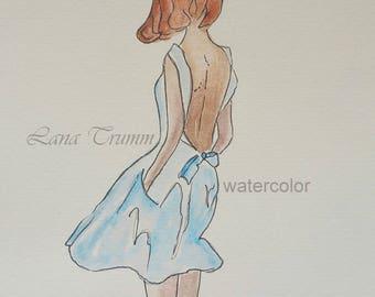"Original watercolor ""Lady in blue"""