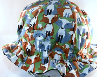 "Cotton ""Grow-with-Me"" Sunhat - Blue and Green Foxes - Adjustable Size - Flat Brim - Velcro Chin Strap - 0-3+ Years - Stay-On Hat"