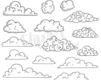 Cloud Clip Art, Cloud Vector Art, Cloud Clipart, Instant Digital Download