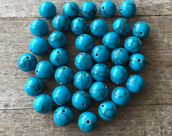 Turquoise Coloured Howlite BEADS (36)
