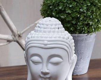 Ceramic Oil Burner White Buddha Head - oil burner, oil diffuser, aromatherapy oil burner, ceramic oil burner Buddha gift, Mother's Day gift