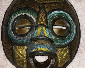 Tribal Wood Mask Brass Beaded BOHO Wall Decor