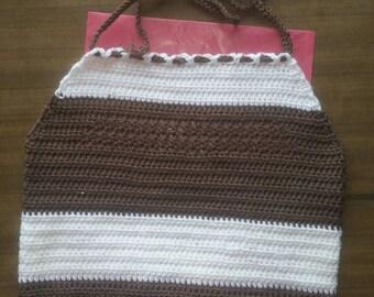 Juniors Adjustable Crochet Summer Simple Brown White Elegance Halter Crop Top