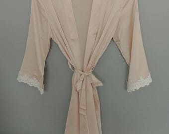 Champagne Bride & Bridesmaids Satin Lace Embroidered Robe