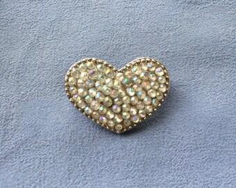 Iridescent Beaded Silver Heart Brooch/Pin