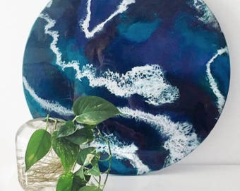 60cm resin art painting (Luna and the Sea)