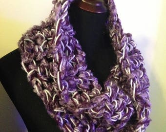 Purple Fuzzy Crochet Cowl