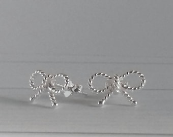 Bow studs, silver bow studs