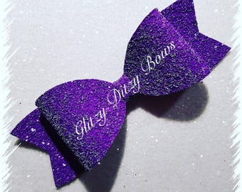Frosted Purple Hair Bow Large