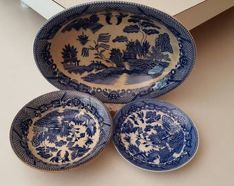 1920's to 1950's Vintage Blue Willow Chinoiserie China made in Japan